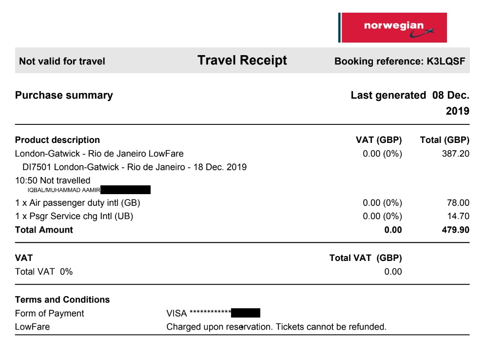 Brazil Norwegian Airlines Flight Ticket